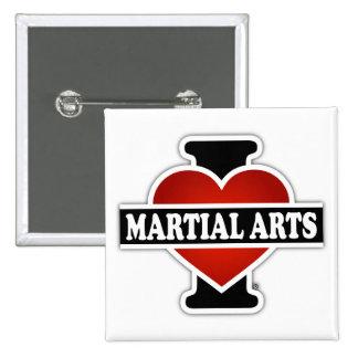 I Love Martial Arts 2 Inch Square Button