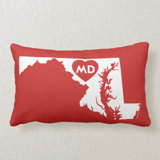 I Love Maryland State Lumbar Pillow