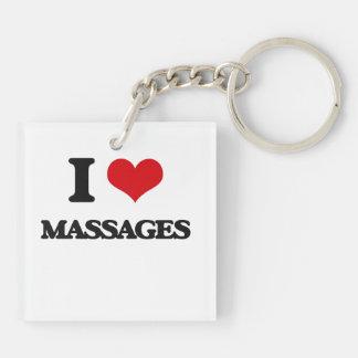 I Love Massages Square Acrylic Keychain