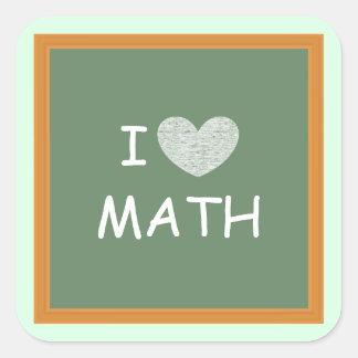 I Love Math Square Sticker