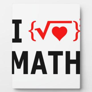 I Love Math White Plaque