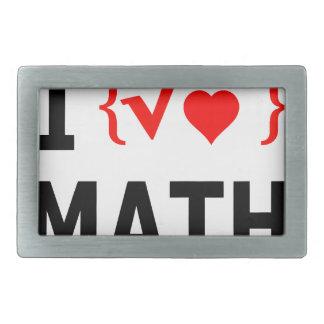 I Love Math White Rectangular Belt Buckle
