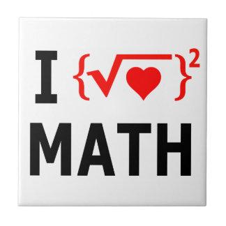 I Love Math White Tile