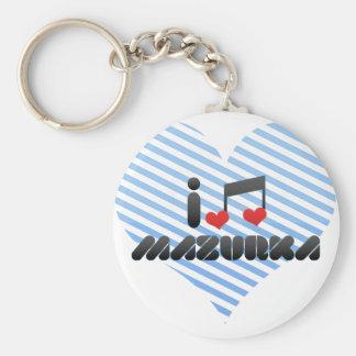 I Love Mazurka Basic Round Button Keychain