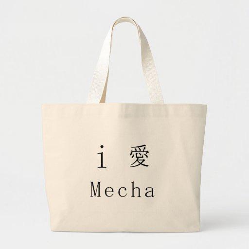 i love mecha tote bags