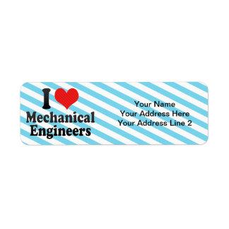 I Love Mechanical Engineers Custom Return Address Label