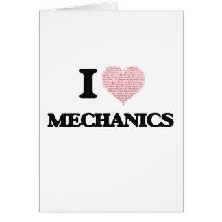 I love Mechanics (Heart made from words) Greeting Card