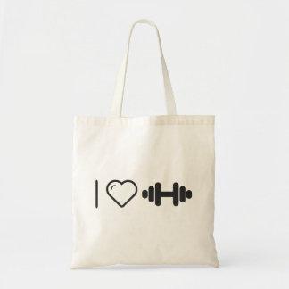 I Love Medium Dumbbells Tote Bag