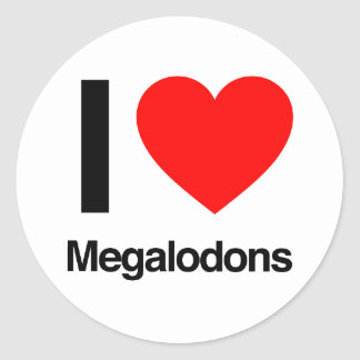 i love megalodons classic round sticker