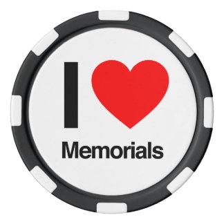 i love memorials poker chip set