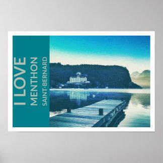 """""""I Love Menthon Saint Bernard"""" Poster 48.3x33cm"""