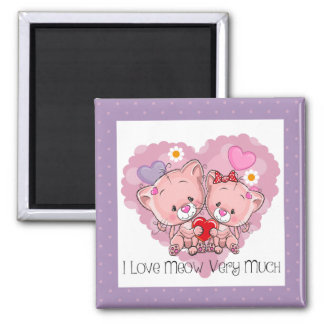 I Love Meow Cats Magnet