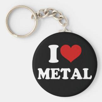 I Love Metal Basic Round Button Keychain