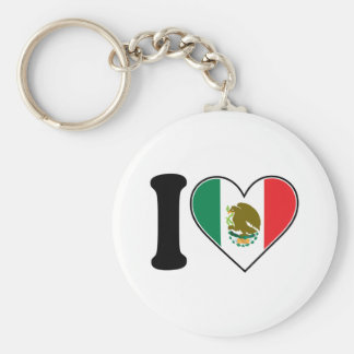I Love Mexico Basic Round Button Keychain