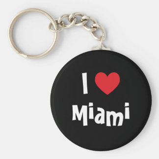 I Love Miami Basic Round Button Keychain