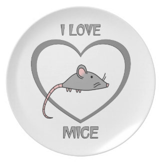 I Love Mice Plate