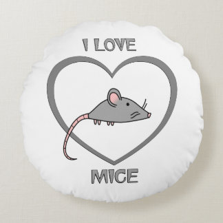 I Love Mice Round Pillow
