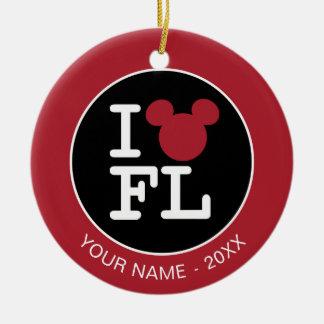 I Love Mickey | Florida  - Add Your Name Ceramic Ornament