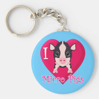 I Love Micro Pigs Basic Round Button Keychain