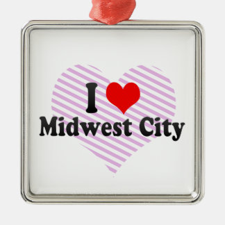 I Love Midwest City, United States Metal Ornament