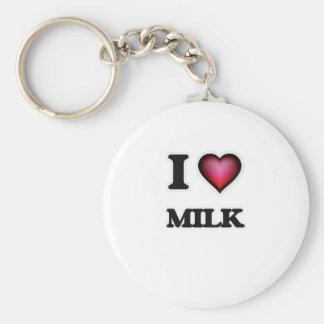 I Love Milk Basic Round Button Keychain