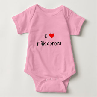 I love milk donors black writing with a red heart baby bodysuit