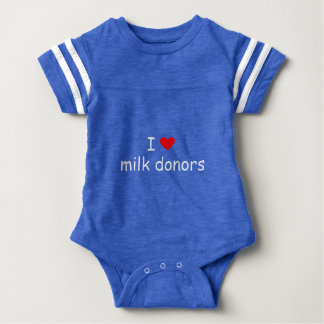 I love milk donors white writing with a red heart baby bodysuit
