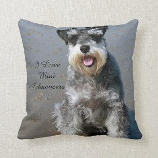 I Love Mini Schnauzers Throw Pillow