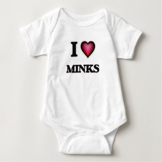 I Love Minks Baby Bodysuit