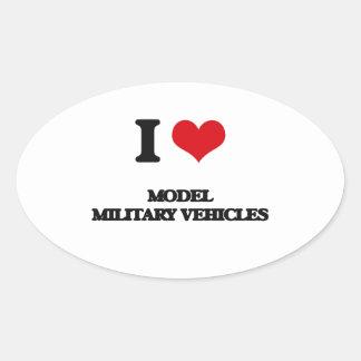 I Love Model Military Vehicles Oval Sticker