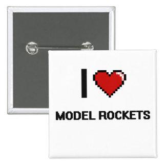 I Love Model Rockets Digital Retro Design 2 Inch Square Button