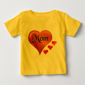 "I love Mom Hearts with word ""Mom"" Baby T-Shirt"