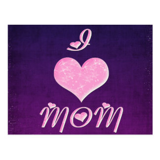 I Love Mom Pretty Heart Design Postcard