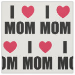 I Love Mom - Red Heart - Black Text Fabric