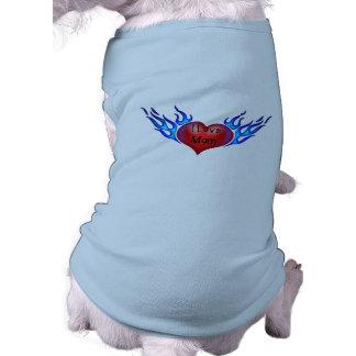 I Love Mom Tattooed Heart Dog Shirt