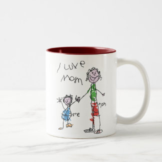 i love mom Two-Tone coffee mug