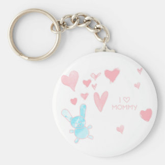 I love Mommy Child drawing Button Keychain