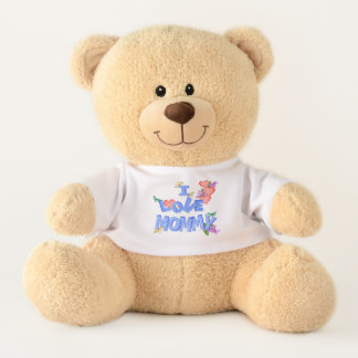 """""""I Love Mommy"""" with daisies, lilacs and dragonfly Teddy Bear"""