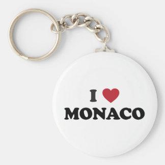 I Love Monaco Basic Round Button Keychain