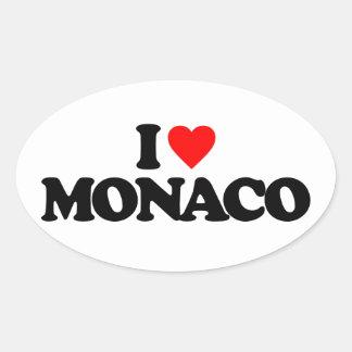 I LOVE MONACO OVAL STICKER