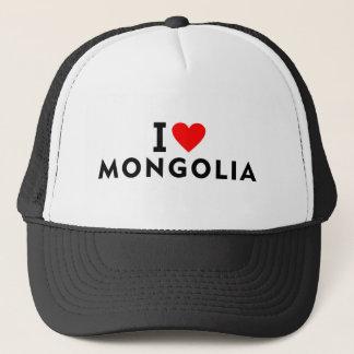 I love Mongolia country like heart travel tourism Trucker Hat