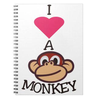 I Love Monkey Spiral Notebook