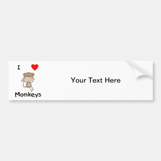 I Love Monkeys (2) Bumper Sticker