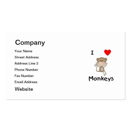 I Love Monkeys (2) Business Card Templates