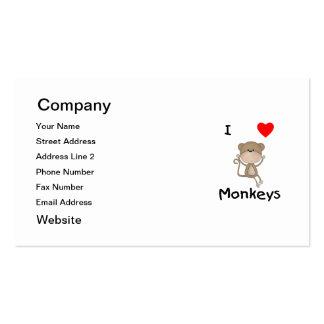 I Love Monkeys (2) Pack Of Standard Business Cards