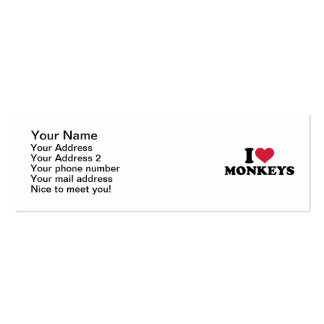 I love Monkeys Double-Sided Mini Business Cards (Pack Of 20)