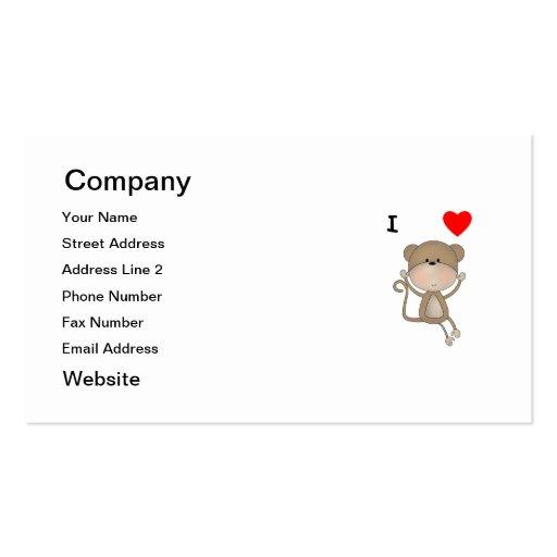 I Love Monkeys Business Card Template
