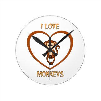 I Love Monkeys Clock
