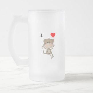I Love Monkeys Frosted Glass Beer Mug