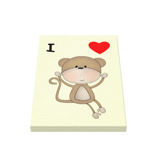 I Love Monkeys Gallery Wrapped Canvas